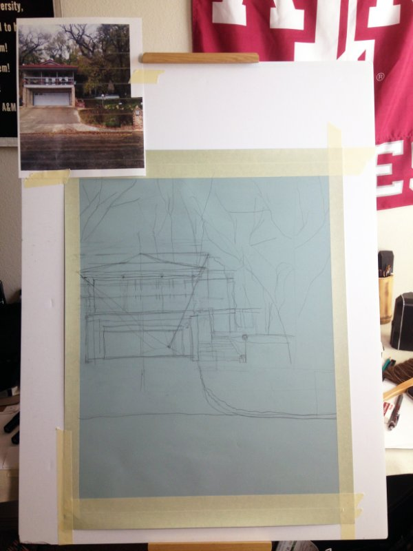 Initial stage of a house portrait. The house is in Ransom Canyon, Texas.
