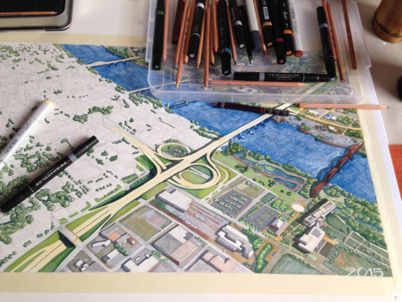 Creation process of details of a downtown drawing of Little Rock, Arkansas