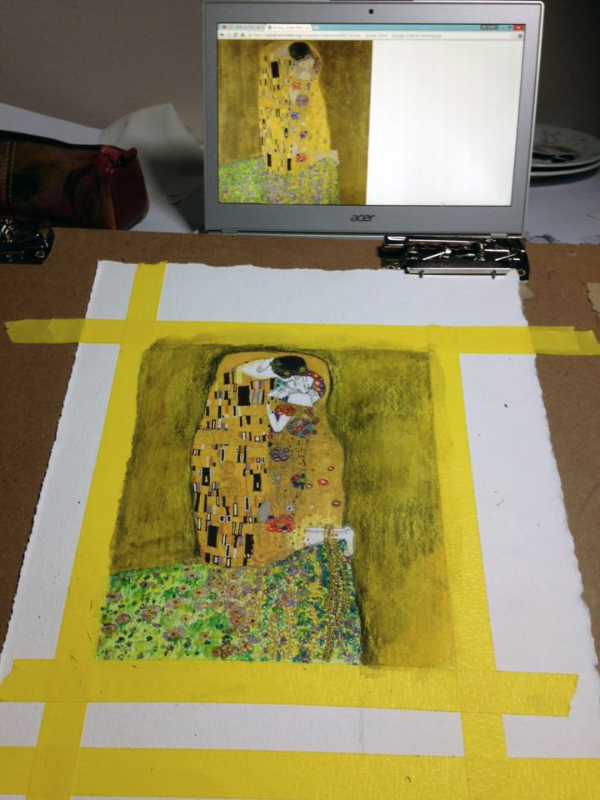 """Copying the painting """"The Kiss"""" by Gustav Klimt, but I used watercolor pencils and markers"""