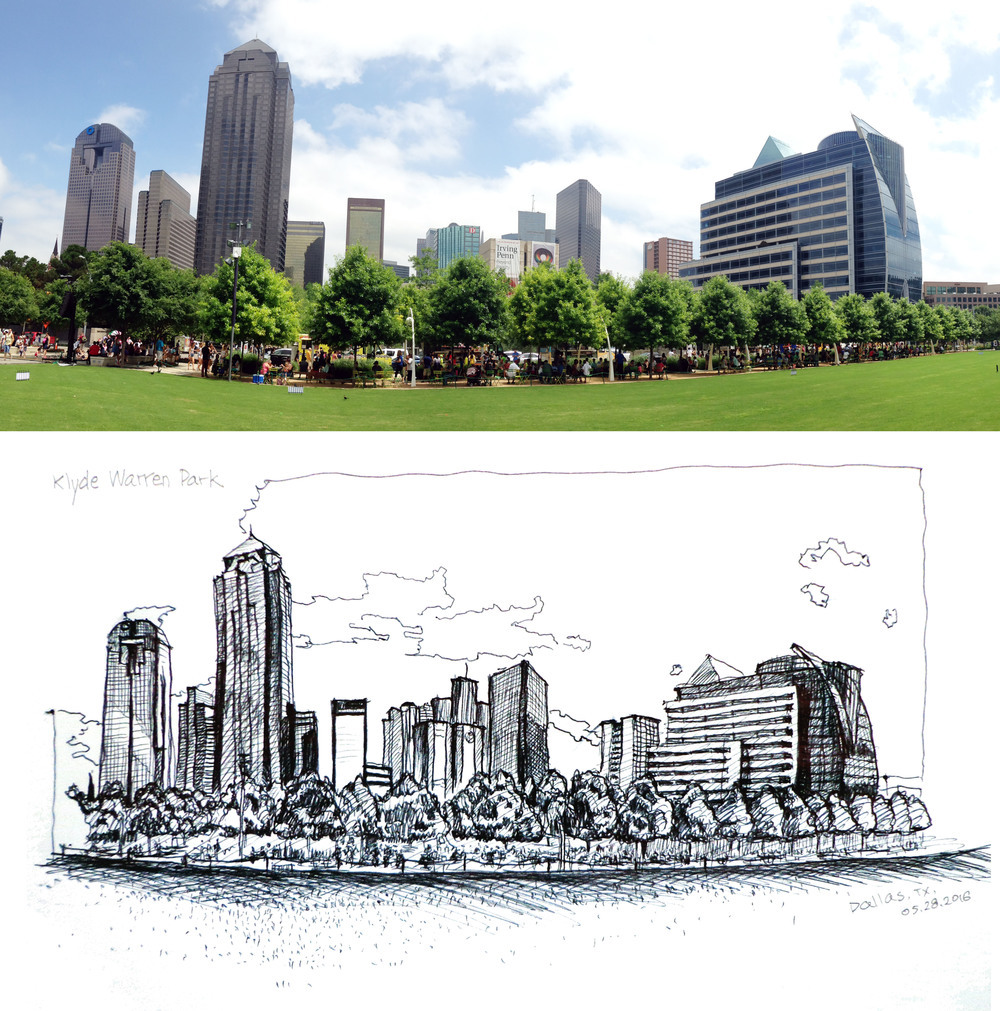 The view of Downtown Dallas from Klyde Warren Park.