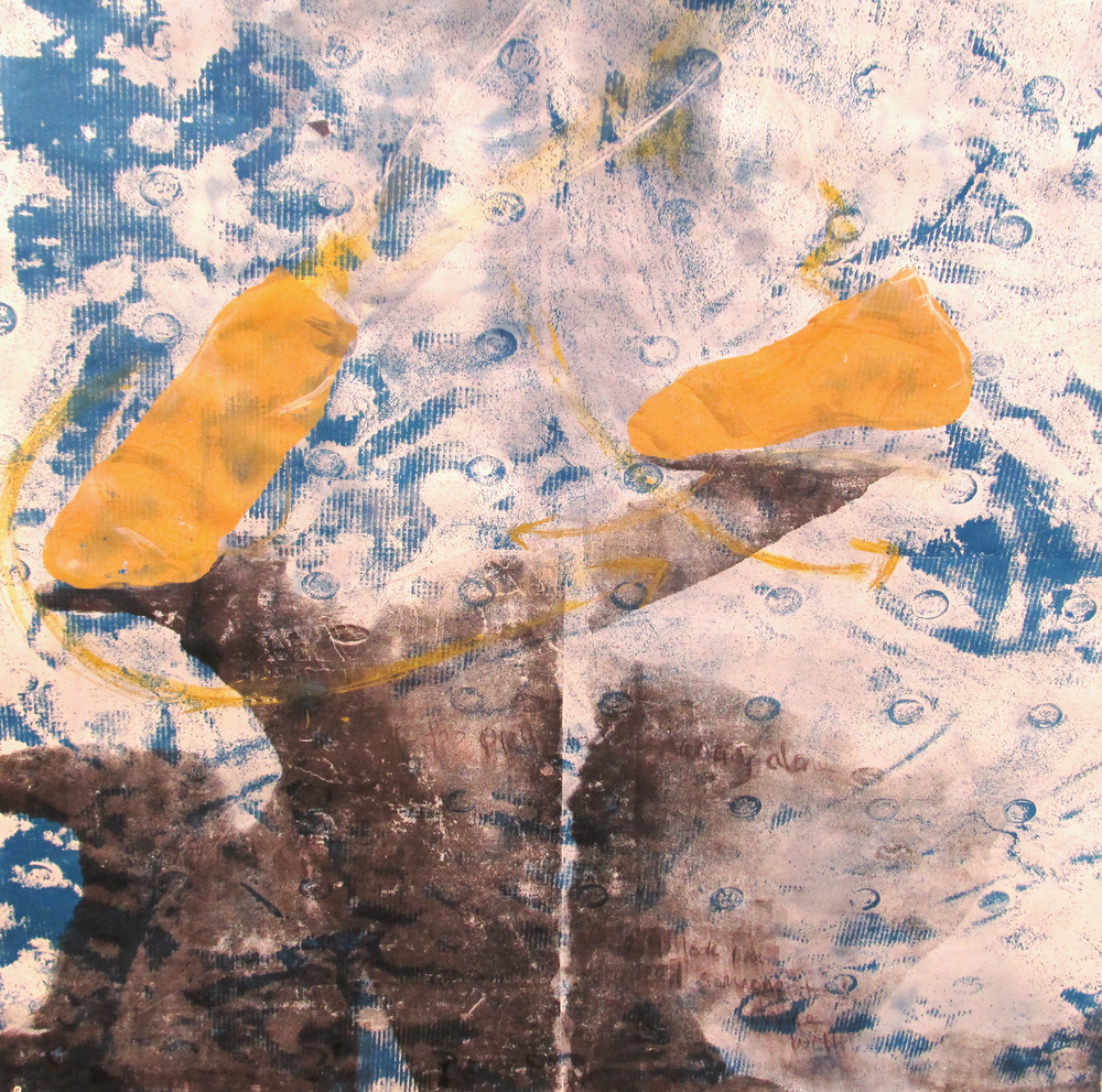 Cyanotype, Silkscreen, and Oil Pastel