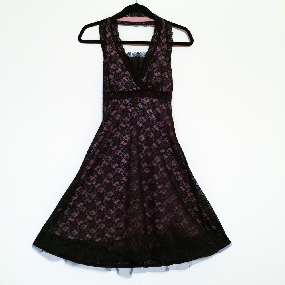 Dress - Black + Pink Lace