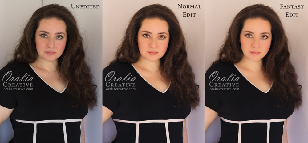 Oralia Creative - Unedited, Normal Edit and Fantasy Edit examples.