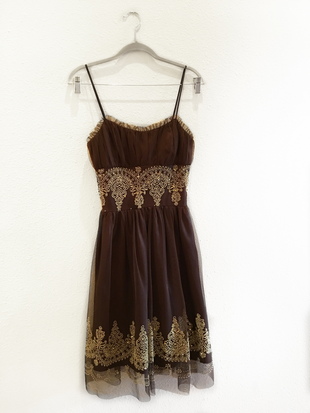 Dress - Brown Tulle + Gold Embellishment