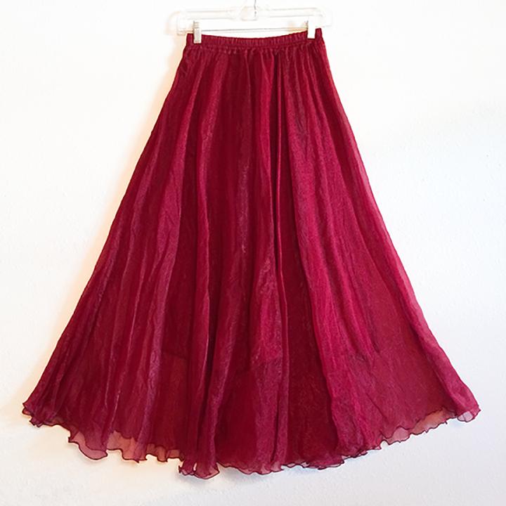 Skirt - Burgundy Chiffon