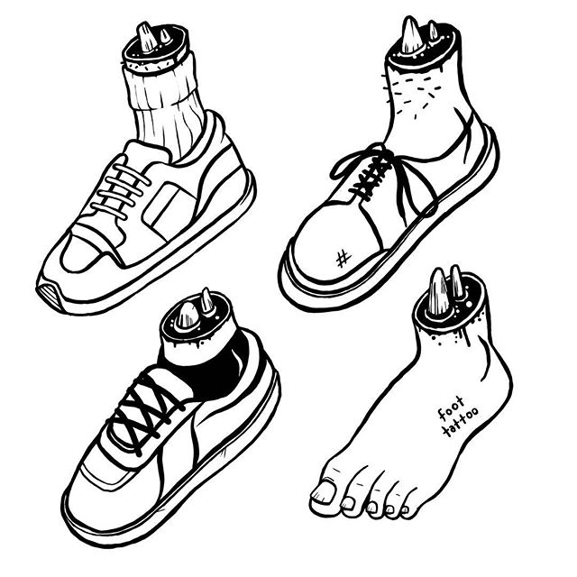 In my wardrobe. #fashion #style #ontrend #footware #shoes #feet #butcher #knife #disembodied #vans #reebokclassic #illustration #instaart #sketch #doodle #lineart #simpletattoo #cartoon #silly #stupid #dumb