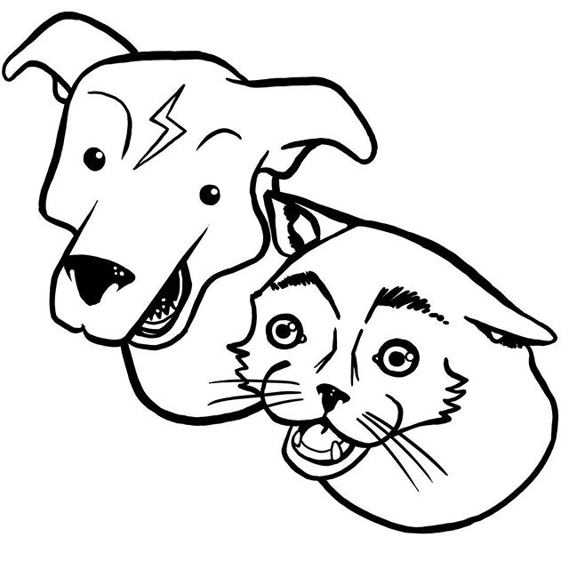 These guys. Cat + dog. #cat #dog #bff #mates #buddies #besties #stupid #dumb #illustrations #doodle #sketch #lineart #blackandwhite