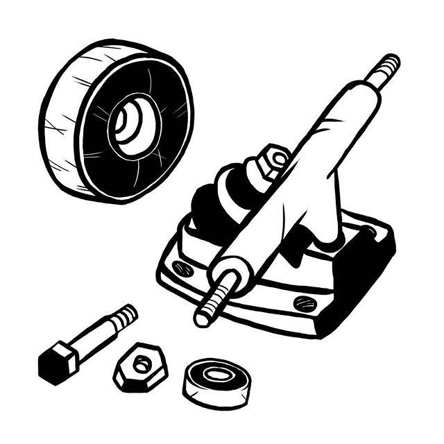 Hardware. #skateboard #truck #bearing #wheel #nuts #bolts #illustration #art #skateart #instaart #sketch #doodle #b&w #lineart #simpletattoo