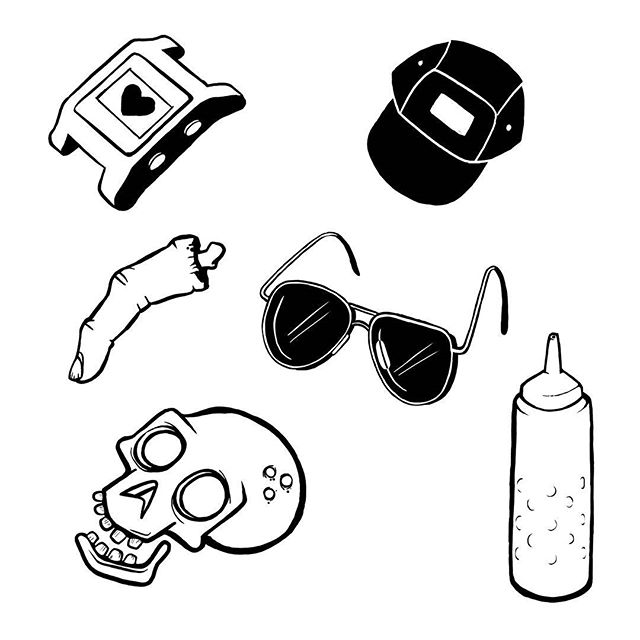 Items of desire #illustration #art #sketch #flash #flashsheet #tattoo #simpletattoo #lineart #blackandwhite  #dumb #funny #stupid #jokes #instaart #instaartist #casio #skull #5panel #finger #sunglasses #ketchup #mustard