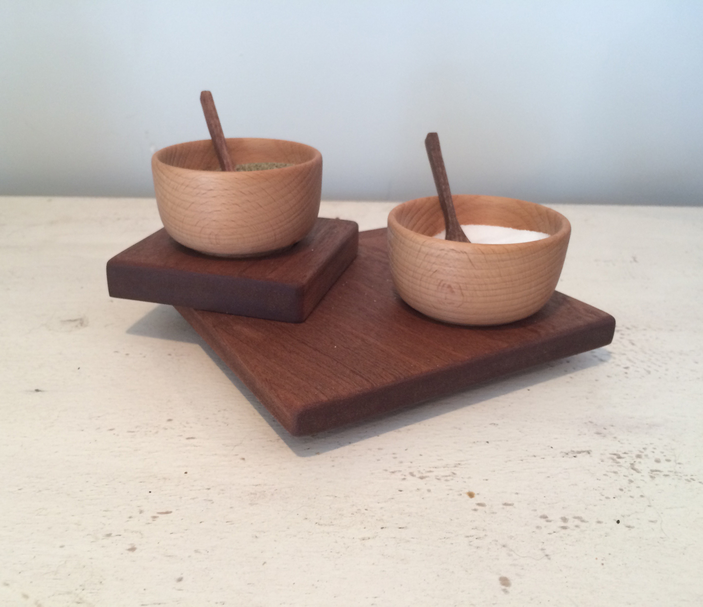 Salt & Pepper Tray, Bowls, & Spoons
