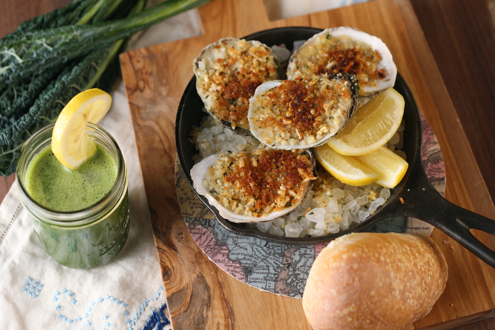 Roasted Oysters, Smoked Garlic Butter, Green Onions - credit  Melissa Hom....jpg