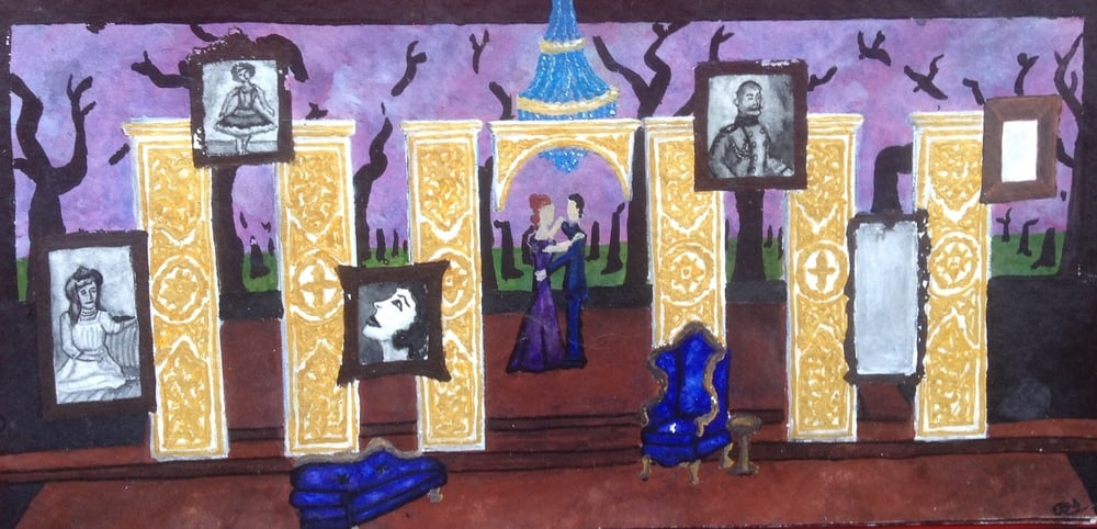 THE CHERRY ORCHARD:   Act III  Materials: gouache, soft pastel, watercolor paper.