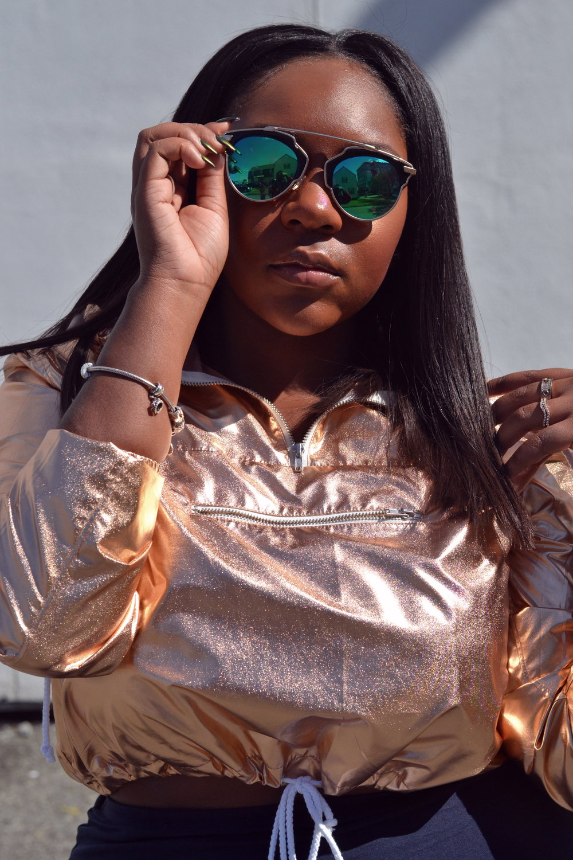Outfit Details    -Metallic Cropped Jacket, H&M ( Similar )  -Blue Pencil Skirt, H&M ( Similar )  -Peep Toe Booties, H&M ( Similar )  - Sunglasses , Sunglass Spot