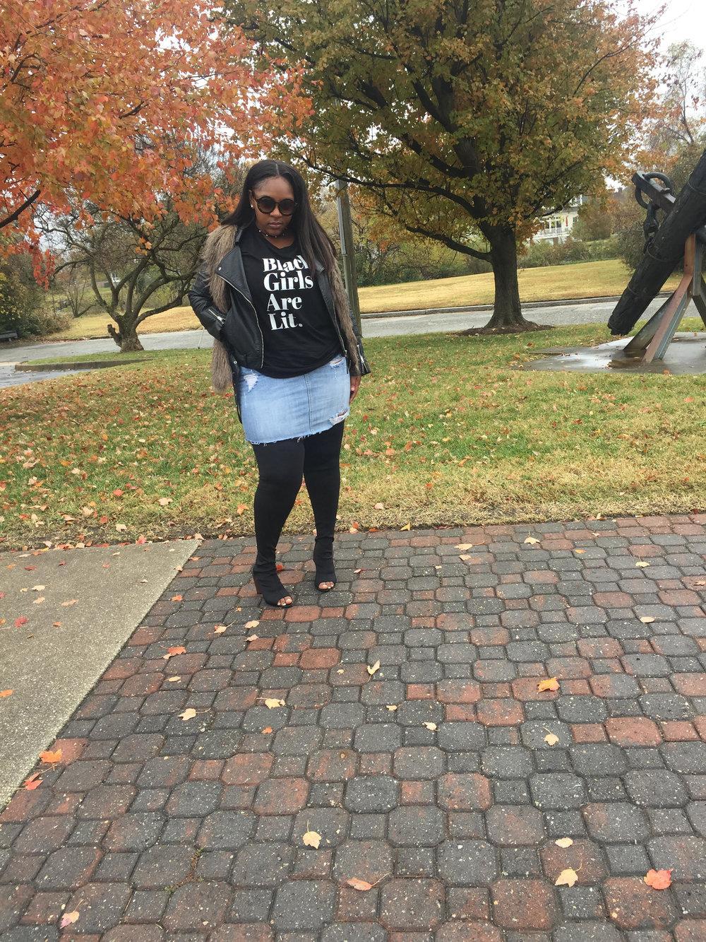 Shirt , All Dem Shades    Skirt,New York & Company ( Similar )     Boots , Urbanog     Jacket , H&M    Fur Vest, H&M ( Similar )