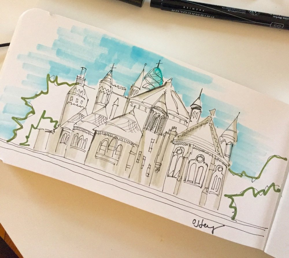 Sometimes sketches don't get completed but are still meaningful, like this one sketched of a cathedral in Harlem, Amsterdam.