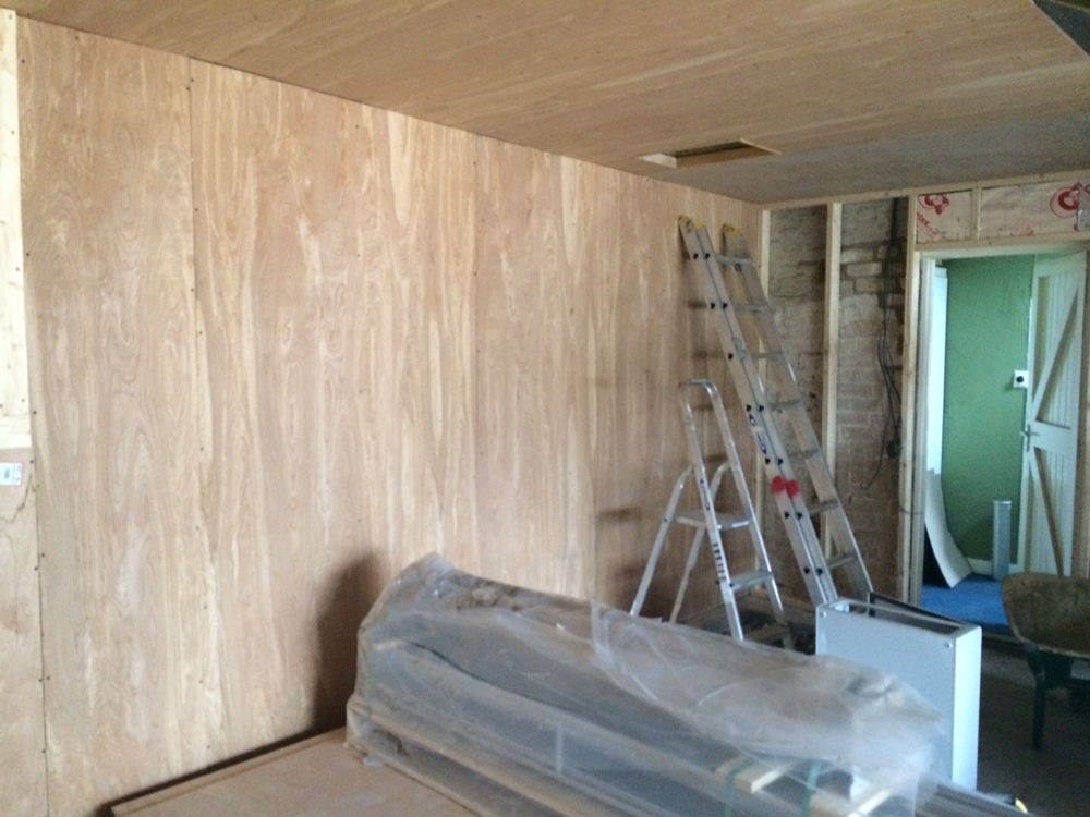 Stud work and insulation of exterior walls in progress....