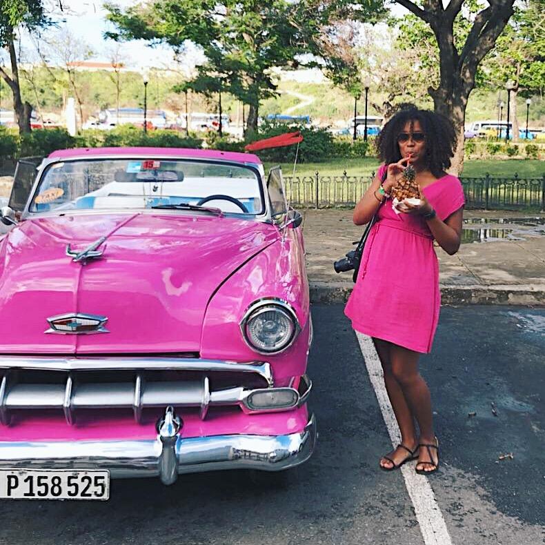 Cuba pink car