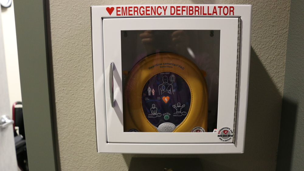 Above:  Defibrillator...The one piece of equipment we hope to never need or use.