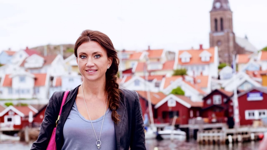 The beautiful Camilla Lackberg and his hometown and favorite setting for all his novels, Fjällbacka, Sweden.