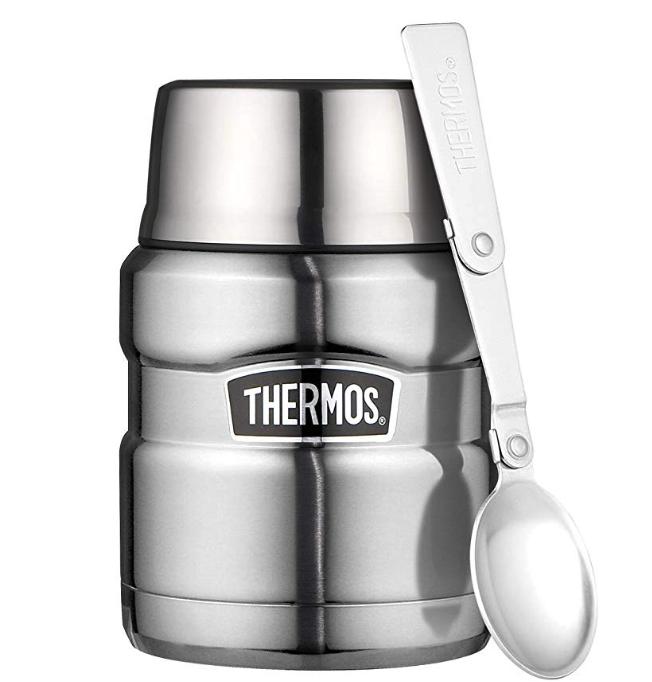 THERMOS - Questo è il mio piccolo e fidatissimo thermos!Arriva con un piccolo cucchiaio pieghevole e ti assicuro che se la cava benissmo a tenere minestre e zuppe belle calde per ore senza neppure perdere una goccia quando lo metti in borsa.