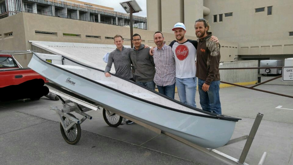 IT's Here!! Sean, Daniel F, Daniel T. And Michael greeting Mr. Gheen with our boat!