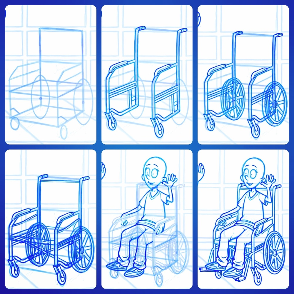 Staying up until 1 am drawing wheelchairs is not everyone's conception of the ideal Friday night. Not even mine (mine is staying up until 1 am drawing anything in the world other than wheelchairs)