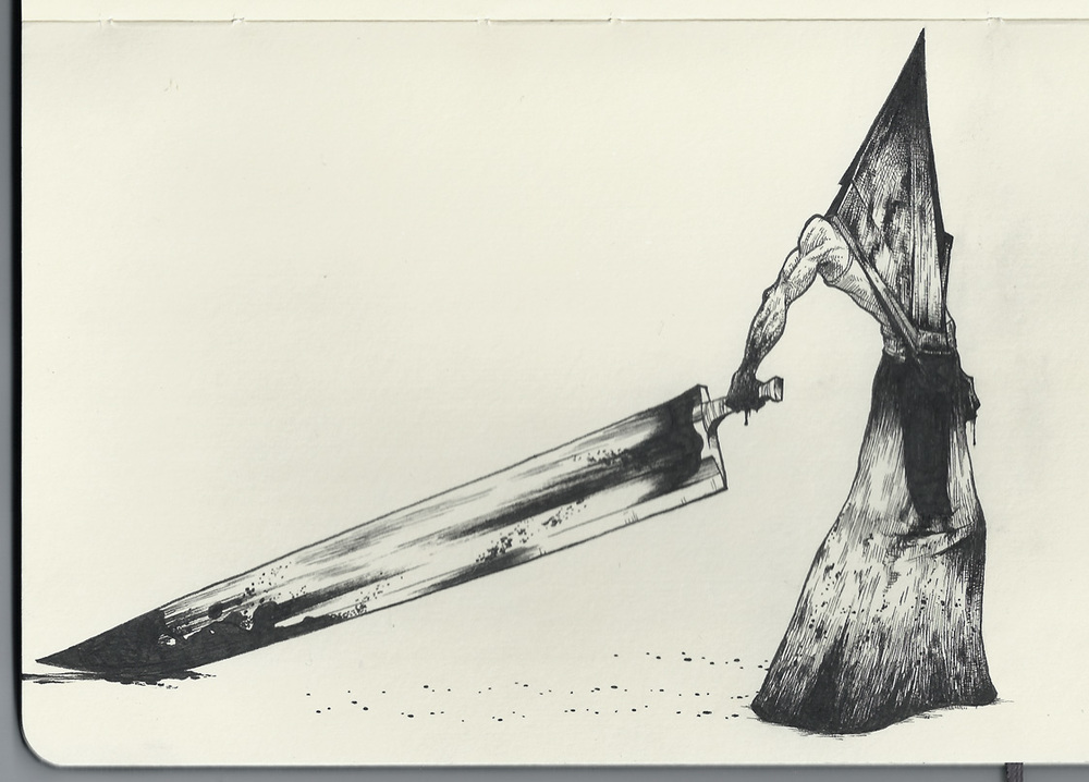 It's him… a little Pyramid Head sketch. Because I am unhealthily obsessed with Silent Hill.
