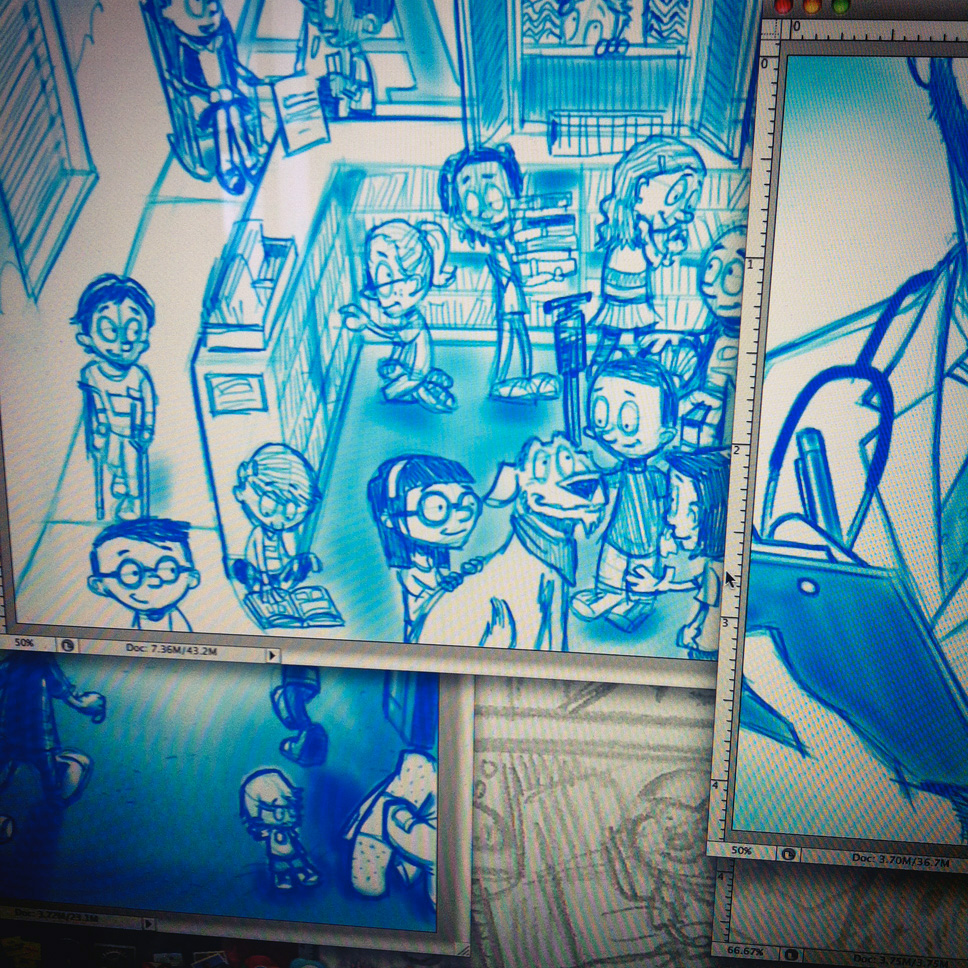 If you've been following my work for a while, you've seen that my thumbnails and roughs tend to be loose (read: sloppy) as all-get-out. This is something I'm trying to push myself away from, i n the interest of working more things out during the preliminary stages of my process. One can add the cleanest lines and rendering to a piece, but when all is said and done it's lipstick on a pig if the composition isn't doing what it should.    In other news, I've found that adding southern rhetorical expressions to my writer's repertoire makes me feel gooder'n snuff and not half as dusty.