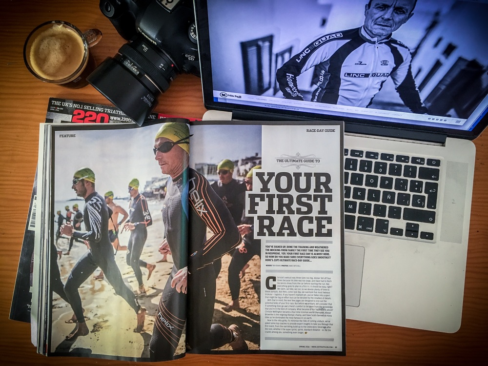 "Nine page feature ""The ultimate guide to your first triathlon"", which I shot at the TIMANFAYA Tri in Playa Blanca back in Feb. The shoot follows ex-Pro footballer Les Thompson and his prep to racing a first triathlon."