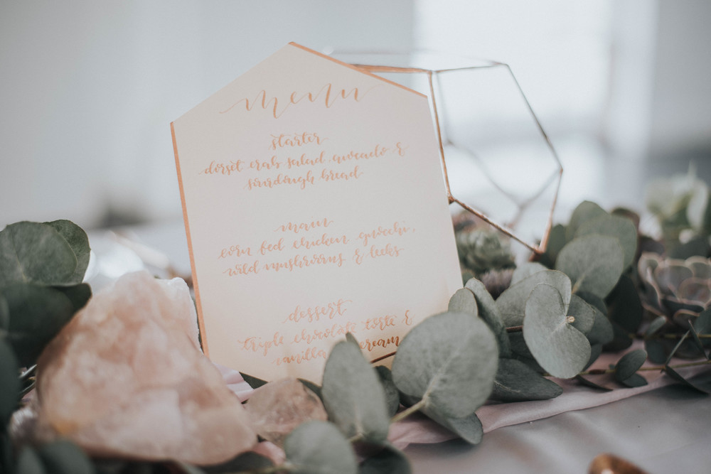 Crystal Shoot Menu Calligraphy