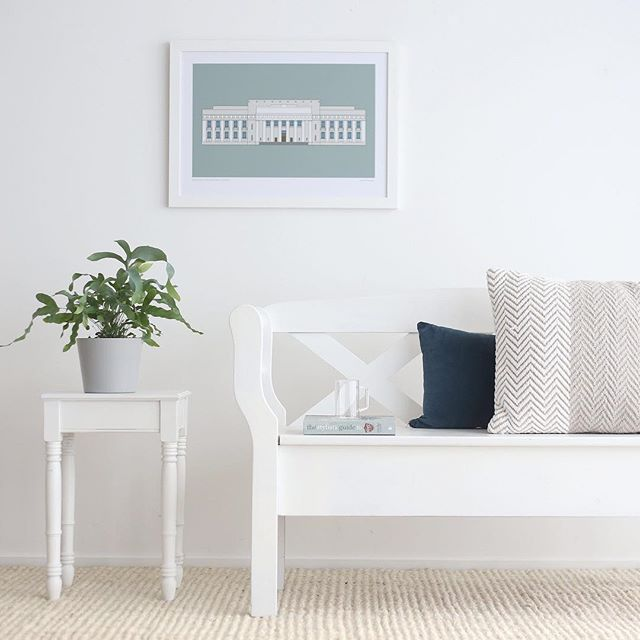 Hands up if you'd love your home to look and feel like this... calm, simple, grey on white on white. I would, just one room, all for me, so I could sit and read and sip ice tea in peace. You can own the artwork, that's a start ; ) - it was the inspiration behind this setting - an architectural beauty from artist Hamish Thompson available from the good folk at @endemicworld ; )