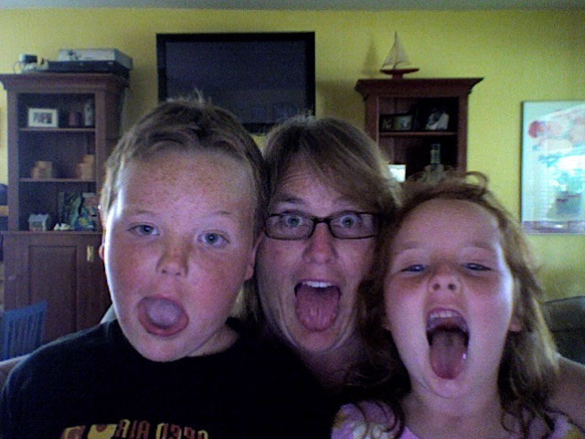 Me and the kids in 2009, playing with photo booth on the computer