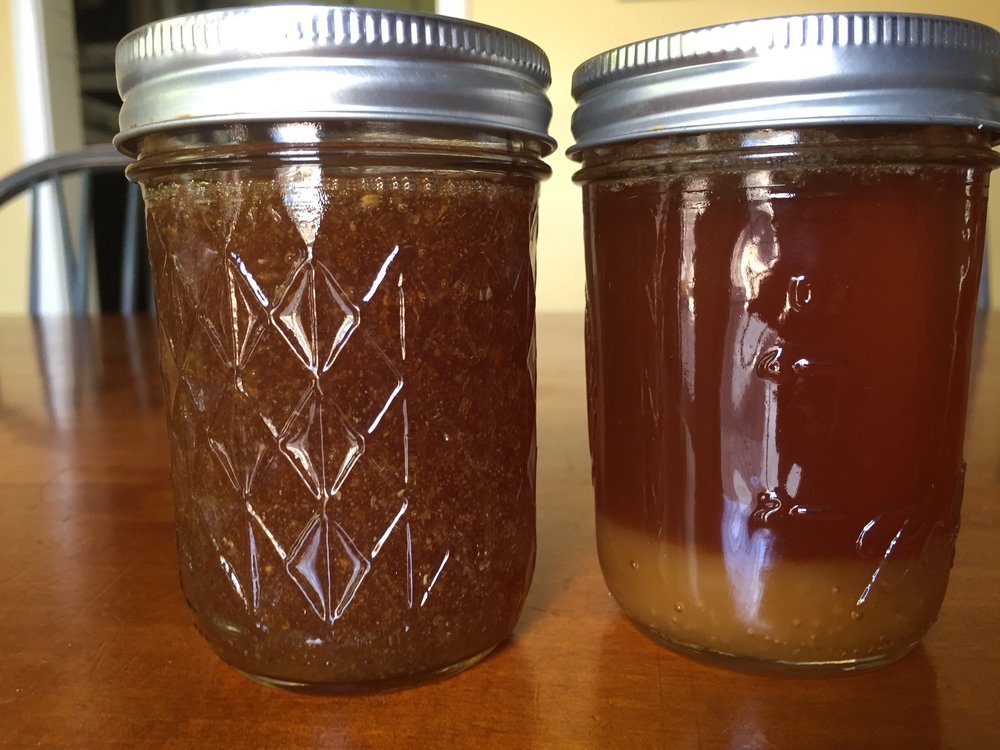 February 2017 honey on the left. February 2016 honey on the right - our last jar - with crystallized honey on the bottom.