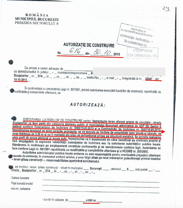 Autorizatie de CONSTRUIRE ELIBERATA DE PRIMARIA SECTORULUI 6, BUCURESTI