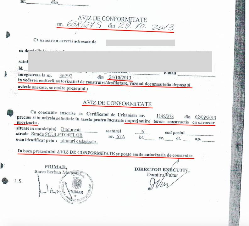 AVIZ DE CONFORMITATE ELIBERAT DE PRIMARIA SECTORULUI 6, BUCURESTI