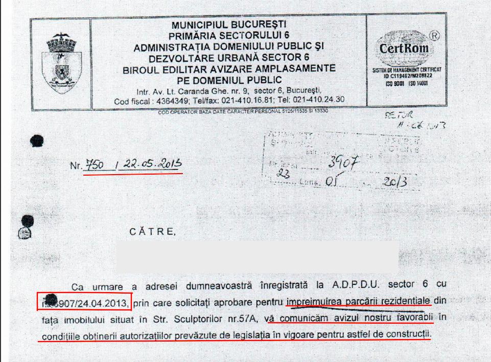 AVIZ FAVORABIL PENTRU IMREJMUIRE PARCARE REZIDENTIALA ELIBERAT DE PRIMARIA SECTORULUI 6, BUCURESTI