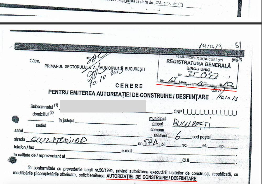 CERERE PENTRU AUTORIZATIE CONSTRUIRE PRIMARIA SECTORULUI 6