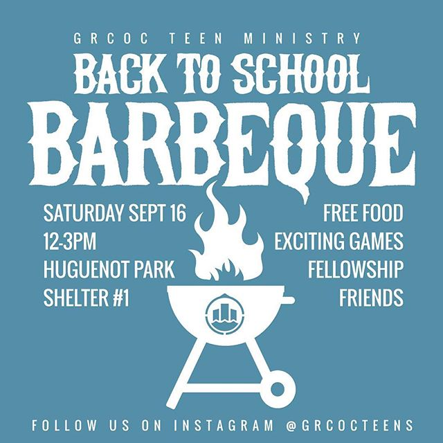 Come on out to our Back To School BBQ! Saturday, September 16th from 12-3:00 pm at Huguenot Park, shelter 1. There will be free food, exciting games, fellowship, and friends! #marchto120 #grcocteens