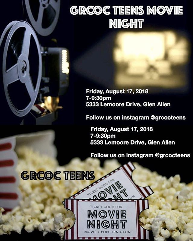 Hey teens! Come out to our movie night this Friday @ 7pm! You won't want to miss a night filled with films, food, and fun. Bring your friends! #grcocteens