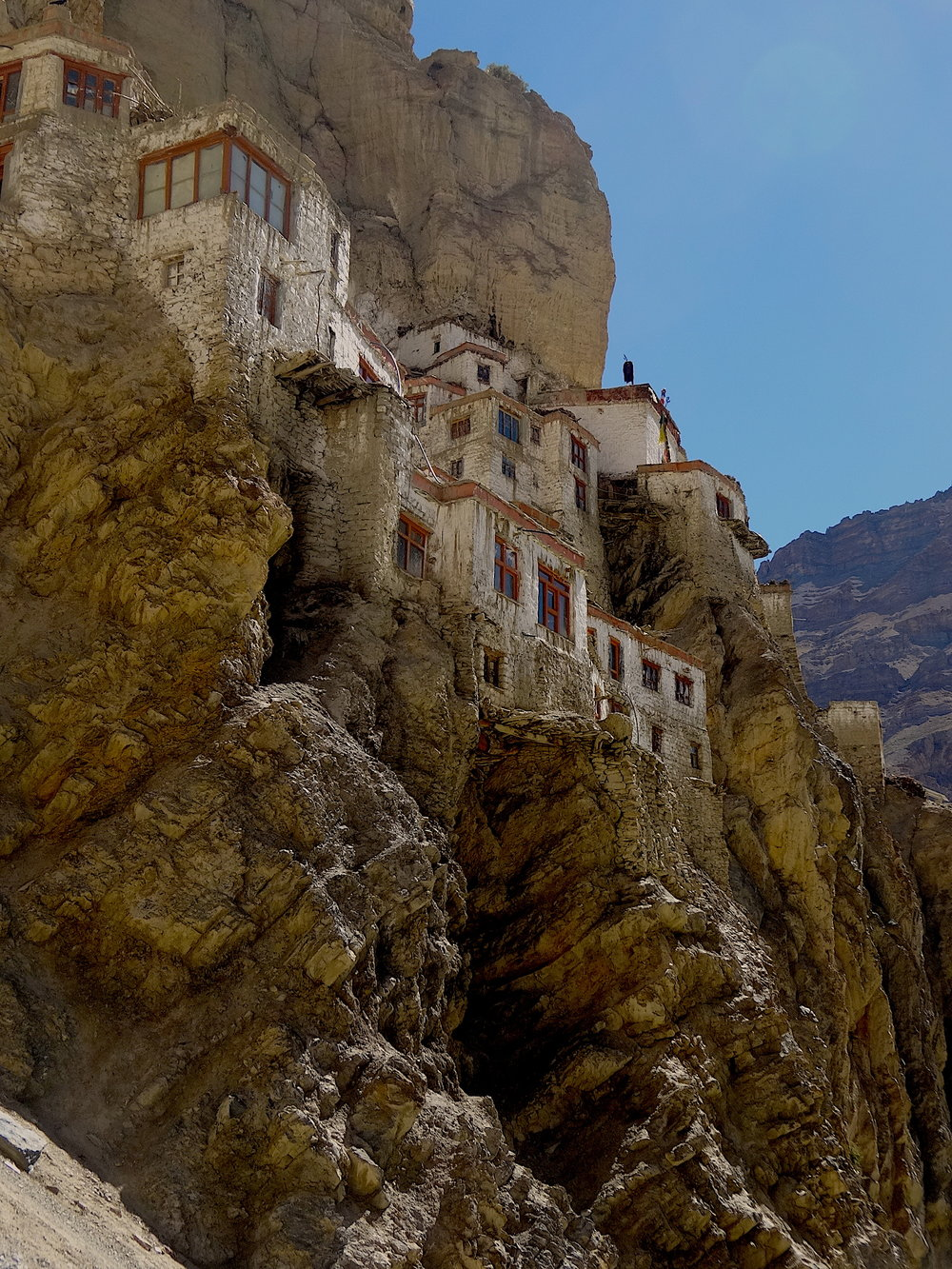 Phugtal Gompa perched eerie-like on a cliff
