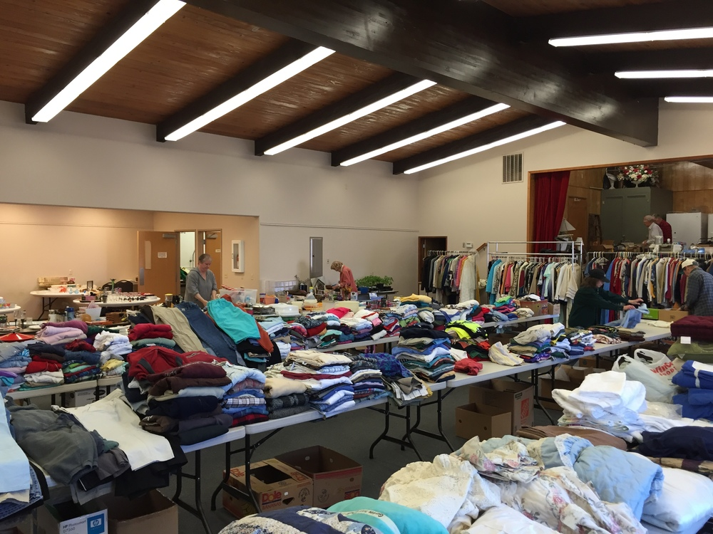 Many church members spend hours preparing for our Rummage Sale!