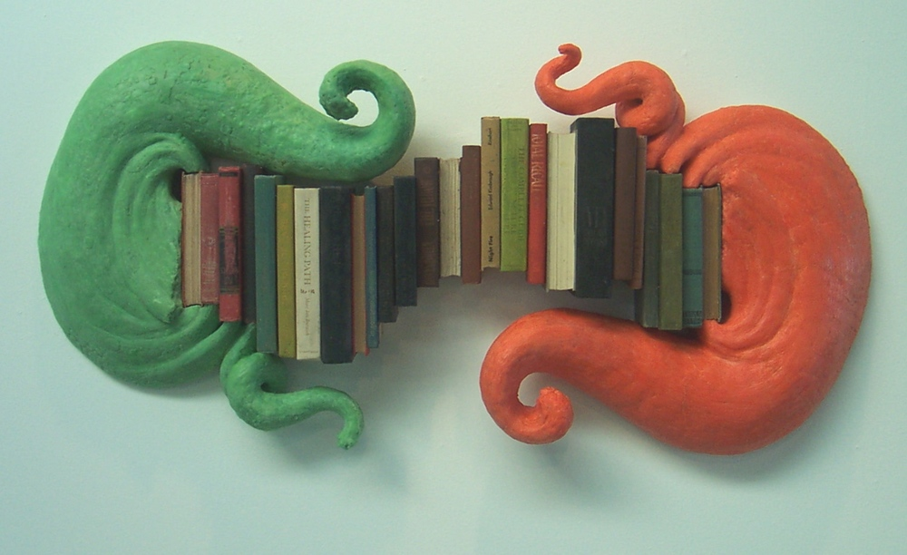 Twin talk,  2008: beeswax, pigment, plaster, books, 48 x 21 x 6 inches
