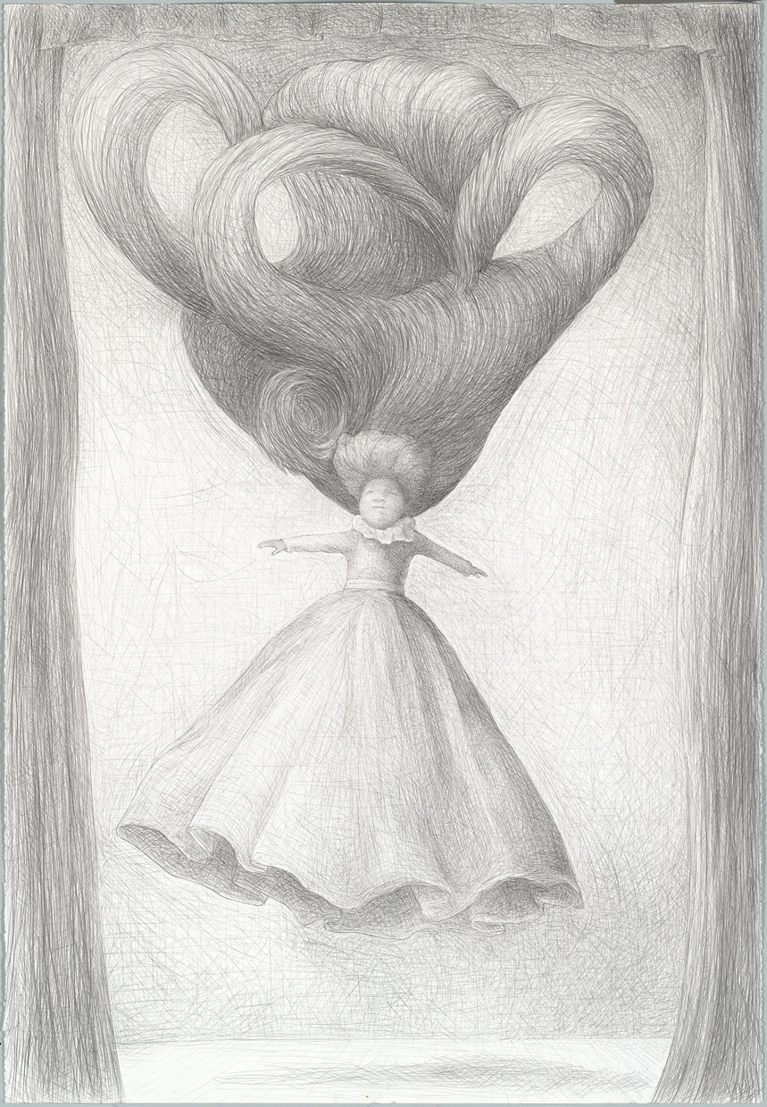 The sleep of reason 1: solo ascent,   graphite on paper, 44 x 31 inches