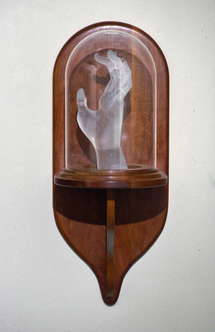 Reliquary 1,  1997: cast glass, glass bell, wood