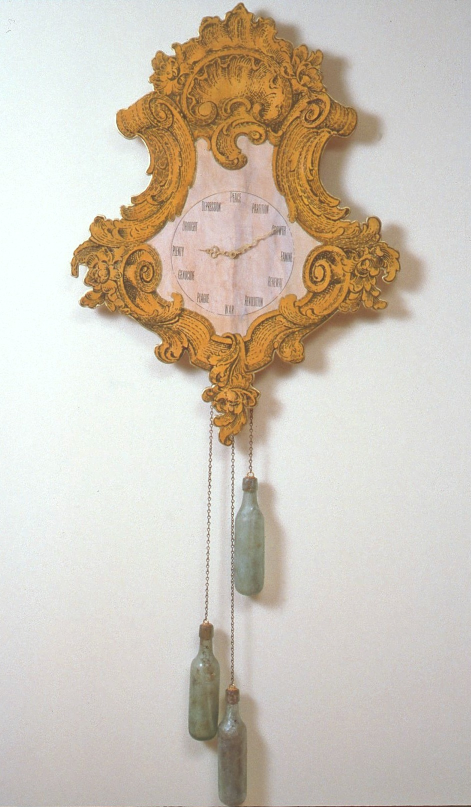Telling time,  1997: 60 x 25 1/2 x 2 1/2 inches, wood, oil paint, metal chain, antique glass bottles, clockworks