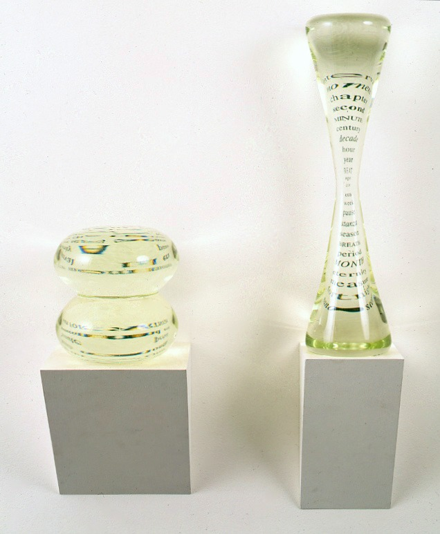 Two Hourglasses for Piaget,  1993: glass, text, wood: 27 x 20 x 7 inches. 
