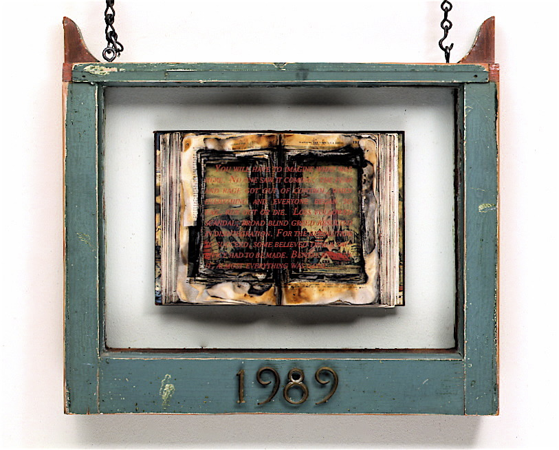 1989 (Cultural Reliquary),  1989: window, book, applied text, brass numbers, chain. 28 x 17 x 3 inches. Text: 