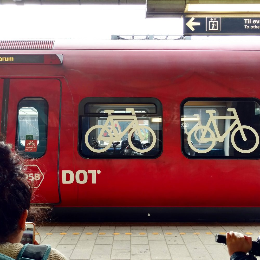 The train cars with bike racks are clearly marked on the outside of the train.
