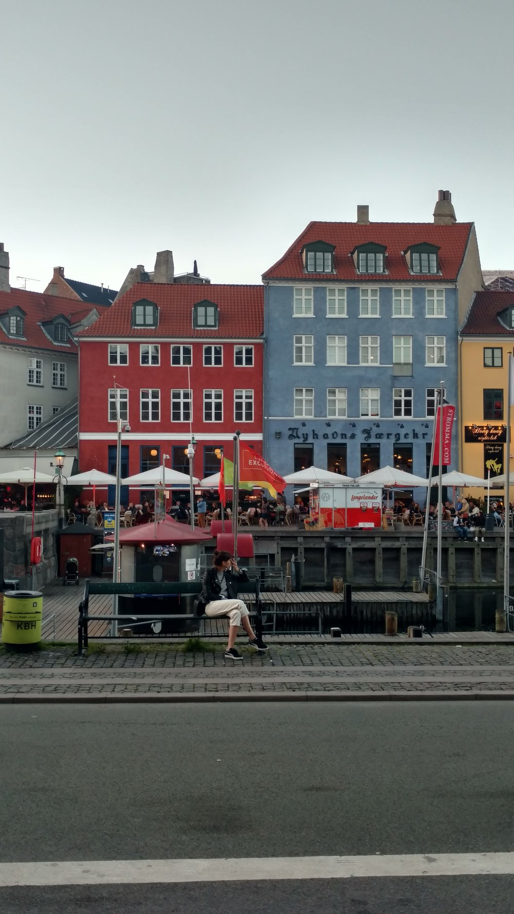 Nyhavn along the canal is one of the pedestrian only streets in Copenhagen