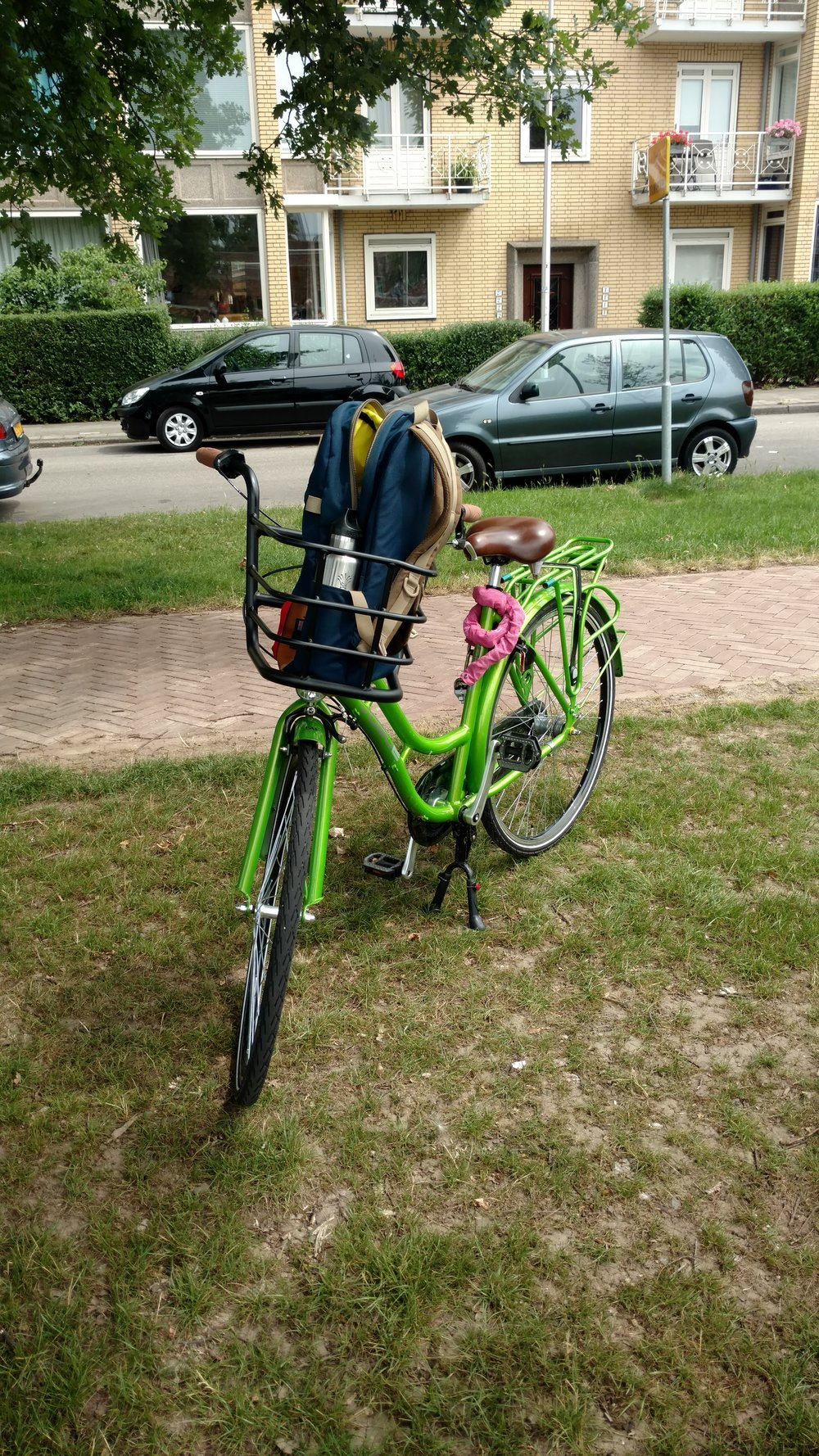 "Our ""Dutch style"" rental bike with pedal brakes, three speeds, and a front basket. This was not my favorite bike we've ridden."